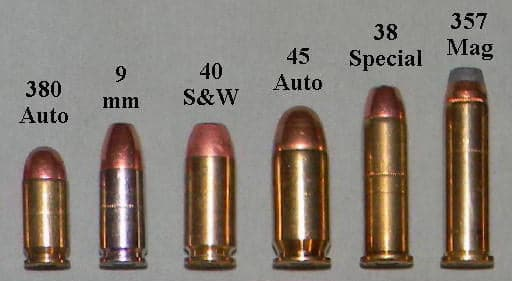 handgun calibers 380 auto 380 acp 9mm 40 sw 45 auto 38 special and 357 magnum