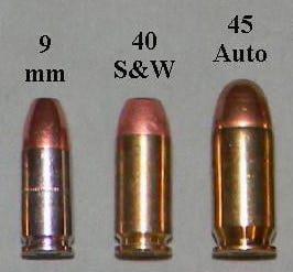 handgun calibers 9mm 40 sw 45 auto 45 acp
